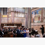 <p>29 June, Assisi – Christian Senn, bass, with the other soloists</p><br>